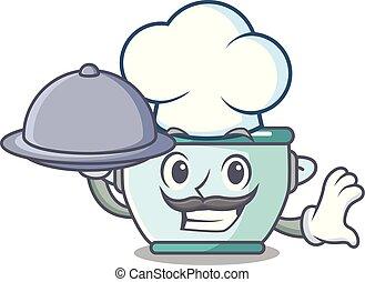 staal, voedingsmiddelen, pot, kok, spotprent, mascotte