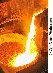 staal, warme, gesmolten