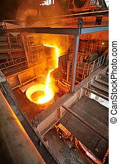 staal, warme, vervoer, gesmolten