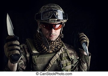 staal, zijn, hand, militair, scherp mes, man