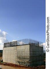 staalkolom, beton, bouwsector, versterkte, straat