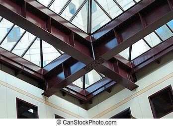 staalstralen, in, een, modern gebouw