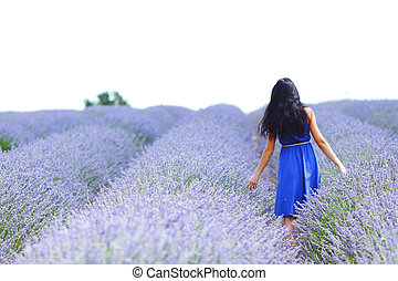 staand, akker, vrouw, lavendel