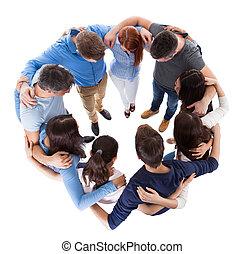 staand, anders, groepering aaneen, mensen