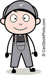 staand, arbeider, -, illustratie, gezicht, vector, retro, het glimlachen, hersteller, spotprent