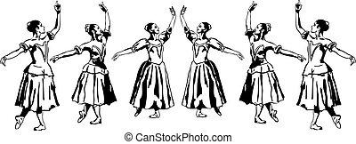 staand, ballerina, meisje, pose