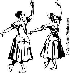 staand, ballerina, schets, meisje