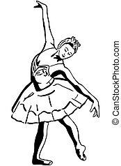 staand, ballerina, schets, pose, meisje