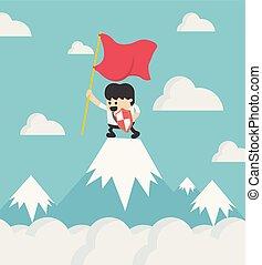 staand, berg, succes, vlakke bovenkant, karakter, vrijstaand, spotprent, buiten, vector, doosje, vasthouden, zakenman, vlag, denken, vrolijke