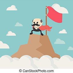 staand, berg, superhero, wind., zakelijk, succesvolle , bovenzijde, succes, het watergolven dundoek, held, kaap, zakenman, spotprent, man.