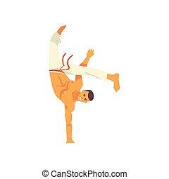 staand, beweging, beoefenen, hand, nationale, karakter, illustratie, een, krijgshaftig, capoeira, vector, braziliaans, kunst, het glimlachen, danser, man