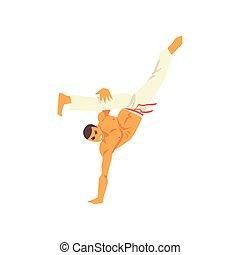 staand, beweging, beoefenen, hand, nationale, karakter, illustratie, een, krijgshaftig, capoeira, vector, braziliaans, kunst, danser, man