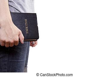staand, bijbel, vasthouden