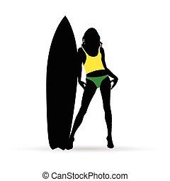 staand, bikini, vrouw, silhouette, surfboard