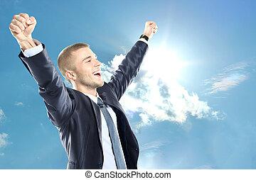 staand, blauwe , verheven, of, zakelijk, succesvolle ,...