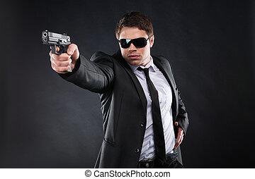 staand, bodyguard., somewhere, jonge, formalwear, geweer, ...