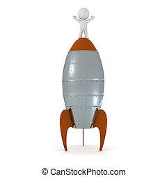staand, bovenzijde, karakter, raket, 3d