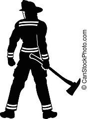 staand, brandweerman