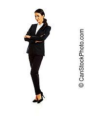 staand, businesswoman, gevouwen wapens