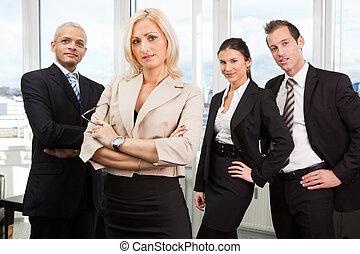 staand, businesswoman, voorkant