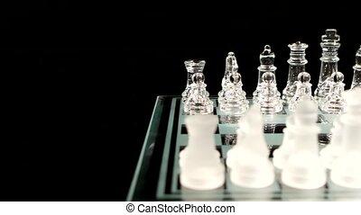 staand, chesboard., glazig, schaakstukken