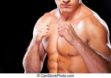 staand, close-up, fight., shirtless, jonge, tegen, het kijken, terwijl, fototoestel, zwarte achtergrond, gereed, serieuze , man