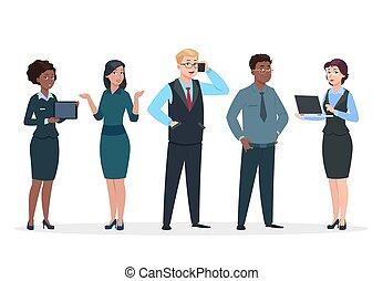 staand, collega's, concept, groep, zakenkantoor, mensen., mannen, spotprent, characters., vector, teamwork, team, persons., vrouwen