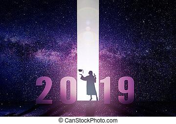 staand, concept, afgestudeerd, 2019, vrouwlijk, jaar, nieuw