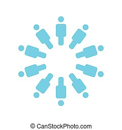 staand, concept, groep, ongeveer, mensen, vector, team, pictogram, cirkel, illustration.