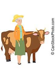 staand, cow., gekruiste wapens, farmer, senior