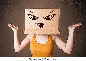 staand, doosje, hoofd, vrouw, haar, jonge, kwaad, gezicht, karton, gesturing