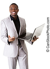 staand, draagbare computer, zwarte man