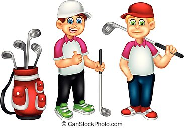 staand, duim, zoet, op, brengen, stok, glimlachen, golfspeler, spotprent