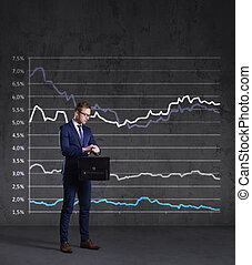 staand, financiën, aktentas, concept., zakelijk, diagram, achtergrond., zakenman, investering