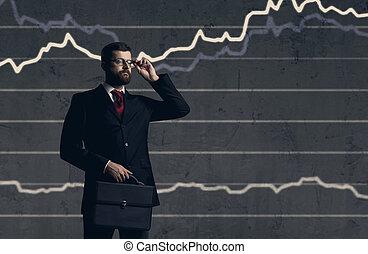 staand, financiën, aktentas, op, zakelijk, diagram, achtergrond., investering, zakenman, concept.