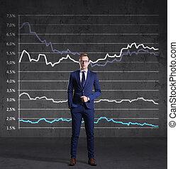 staand, financiën, concept., zakelijk, diagram, achtergrond., zakenman, investering