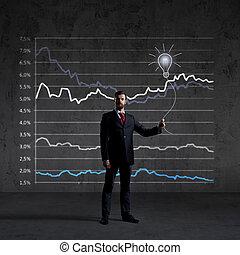 staand, financiën, op, zakelijk, diagram, achtergrond., investering, zakenman, concept.