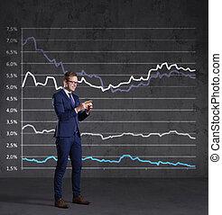 staand, financiën, smartphone, concept., zakelijk, diagram, achtergrond., zakenman, investering