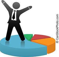 staand, financieel succes, zakelijk, viert, symbool, aandeel, pastei, chart., kleurrijke, markt, man
