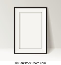 staand, frame, walll, vector, zwarte achtergrond, ontwerp