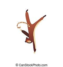 staand, gekke , lemur., plat, hand., character., een, vrolijk, vector, voordeel, kostuum ontwerp, kerel, spotprent, dons, man