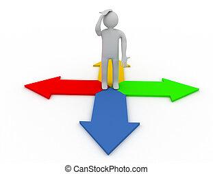 staand, gereproduceerd, pose, illustratie, persoon, nadenkend, arrows., 3d
