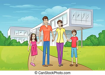 staand, gezin, woning, moderne, groot, voorkant, nieuw