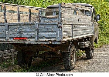 staand, grijs, oud, straat, vrachtwagen, straat