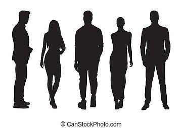 staand, groep, mensen, silhouettes, vrouwen, zakenman