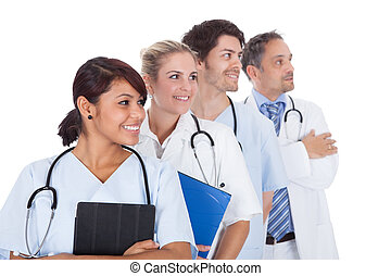 staand, groep, op, samen, artsen, witte
