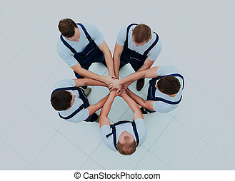 staand, groot, werkmannen , groep, circle.