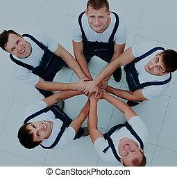 staand, groot, werkmannen , groep, cirkel