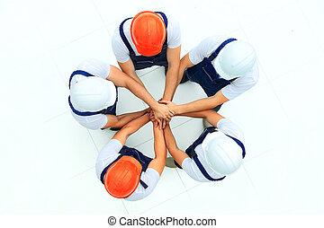 staand, groot, werkmannen , groep