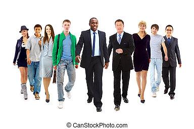 staand, haar, jonge, team, voorkant, zakenman, vrolijke